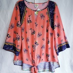 Fig And Flower Floral Boho Tie Front Peekaboo Top